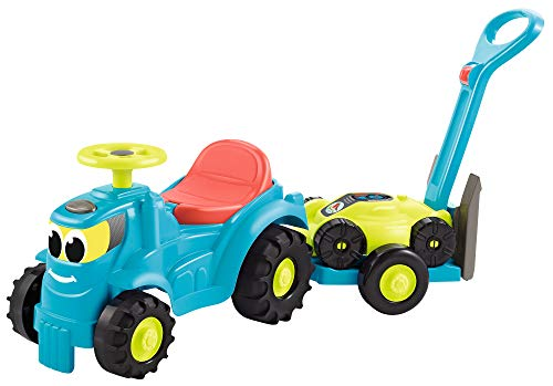 Ecoiffier- Tractor de Juguete con Remolque y Cortadora de Césped, Compartimento Bajo el Asiento, fabriqué en France (4350)
