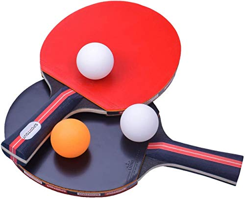 For Sale! Shueriu Table Tennis Racket Ping Pong Paddle Set with 2 Bats and 3 Ping Pong Balls and Tab...