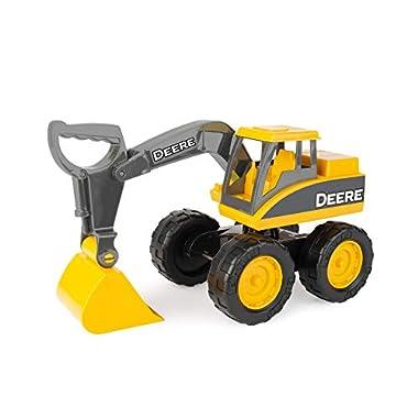 John Deere Big Scoop Construction Toy Excavator with Tilting Dump Bed and Rolling Wheels, 15 Inch, Yellow
