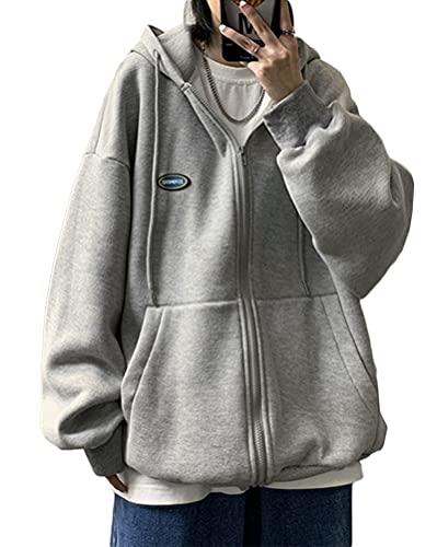 Minetom Damen Sportjacke Kapuzenjacke Hoodie Boyfriend Stil Oberteile Sweatjacke Basic Oversized Jacke Kapuzenpullover Hoodies Übergangsjacke Z2 Grau L