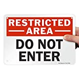 SmartSign - U9-1414-NP_7x10 'Restricted Area - Do Not Enter' Sign | 7' x 10' Plastic Black/Red on White