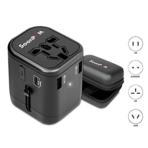 Universal Travel Adapter, SOONPAM International Power Adapter Quick USB Charger All in One Worldwide Plug Adaptor Kit with 1 Type C and 3 USB Ports Wall Plug Adapter for USA/EU/UK/AUS(Black