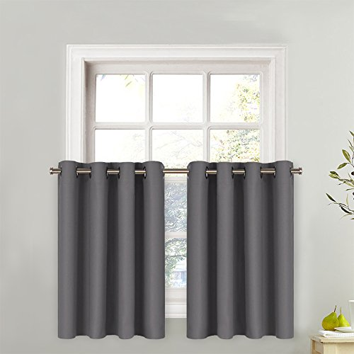 NICETOWN Short Blackout Cafe Curtains Kitchen Window Valance, Thermal Insulated Grommet-Top Tier Curtain (1 Panel, 52W by 36L + 1.2 inches Header, Grey)