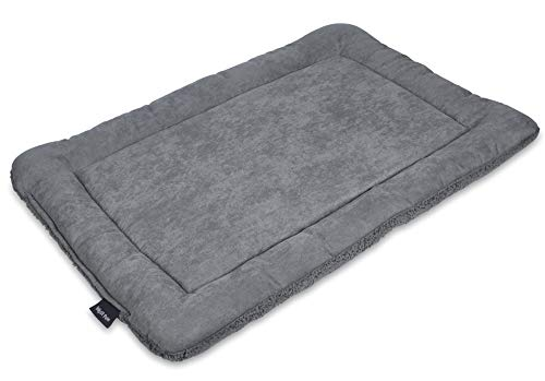 Made in USA Dog Bed King Cuddler Pet Bed. Large Size 33x23x7 Inches. Grey with Imitation Lambswool. Removable Machine Washable Cover.