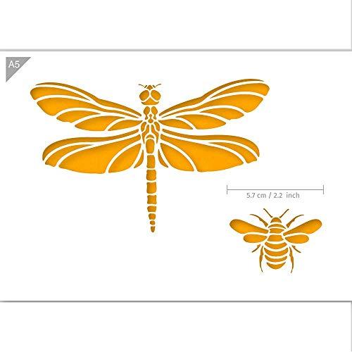 QBIX Libelle Schablone - Biene Schablone - Bugs Schablone - A5 Größe - Wiederverwendbare Kinder freundlich DIY Schablone zum Malen, Backen, Basteln, Wand, Möbel