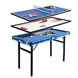 Tavolo da biliardo pieghevole 4 in 1, tavolo da gioco sportivo, tavolo da hockey ad aria, tavolo da ping pong con contenitore per accessori (120 x 60 x 79 cm)