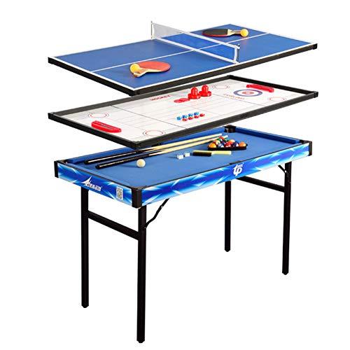 Juego de mesa de billar plegable, 4 en 1, mesa de juego deportivo, mesa de hockey de aire, mesa de tenis de mesa con caja de almacenamiento de accesorios (120 x 60 x 79 cm)