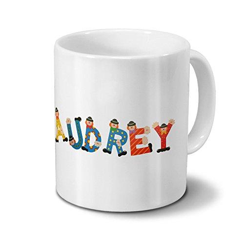 Tasse mit Namen Audrey - Motiv Holzbuchstaben - Namenstasse, Kaffeebecher, Mug, Becher, Kaffeetasse - Farbe Weiß