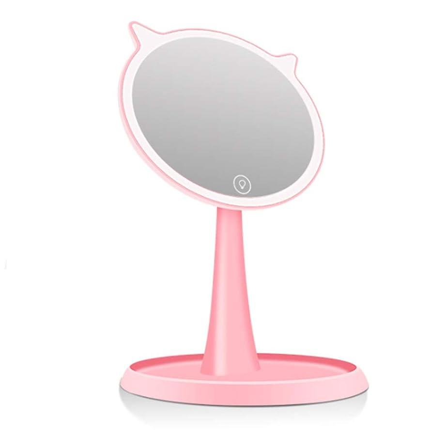 かもめ割れ目生態学化粧鏡 調節可能な回転導かれたライトアップミラーUSBリチャージナチュラル明るいメイクバニティミラーを調光ライト取り外し可能の10X倍率のタッチスクリーン 収納しやすい (色 : ピンク, サイズ : Free size)