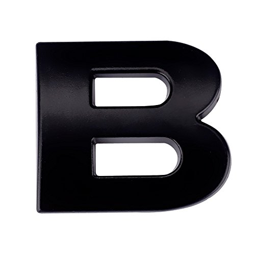 sunnymi ® 26 Buchstaben A-Z 3D DIY Metallic Alphabet Aufkleber Auto Emblem Brief Abzeichen, für Geburtstag Hochzeit Party Schlafzimmer Dekor (Schwarz 2,5x2,2x3mm, B)