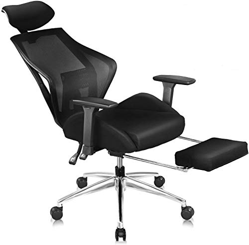 DEVAISE Ergonomics Recliner Office Chair, High Back Mesh Computer Desk Chair with 3D Armrest Adjustable Headrest Lumbar and Footrest Support