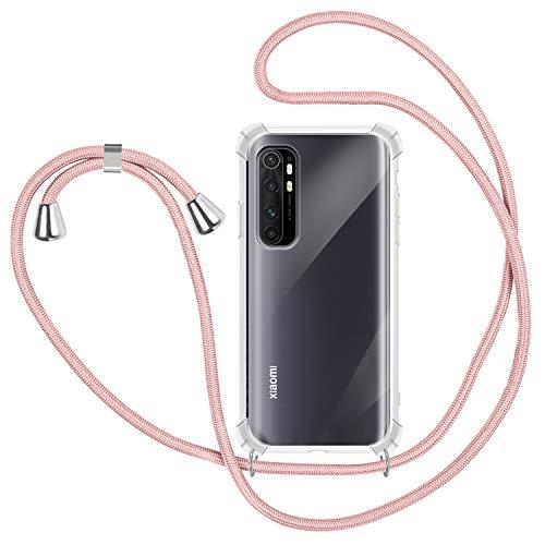 SAMCASE Funda con Cuerda para Xiaomi Mi Note 10 Lite, Carcasa Transparente TPU Suave Silicona Case con Correa Colgante Ajustable Collar Correa de Cuello Cadena Cordón - Oro Rosa
