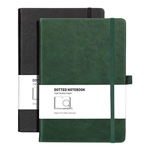RETTACY Notizbuch mit Punktgitter, fester Einband, 320 Seiten, 120 g/m², dickes Papier, 8 perforierte Blätter, glattes PU-Leder, Innentasche, 14 x 21 cm, Schwarz / Grün
