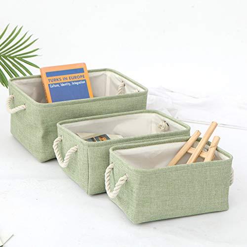 MRBJC Organizador de tela con asas, plegable, impermeable, para almacenamiento de escritorio y organizador de hogar, color verde 36 x 26 x 16 cm