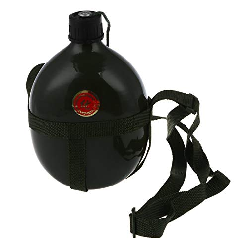SODIAL(R) 1.5L Botella de Agua para Militar Deporte con Correa Ajustable