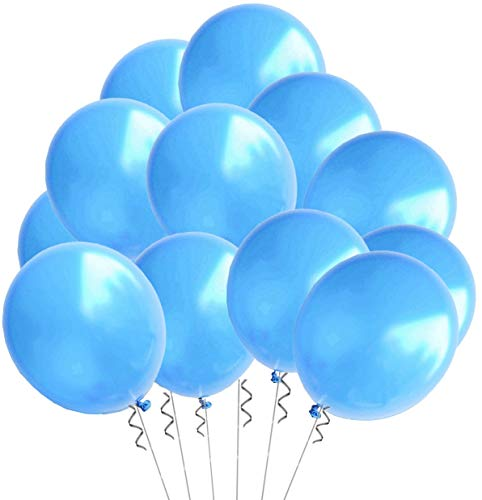 Elecrainbow 100 Pack 12 Inch 3.2 g/pc Thicken Round Pearlescent Latex Blue Balloons for Party Decorations, Light Blue