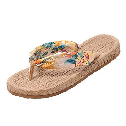 TUDUZ Zapatos de Playa Planos para Mujer Chanclas Bohemias Pantuflas de Tela de Algodón (Beige 40)