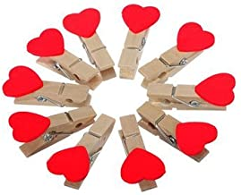 Tim Hawk 10 Clip Mini Red Heart Love Wooden Clothes Photo Paper Peg Pin Clothespin(Red, WoodenClips01) - Pack of 1