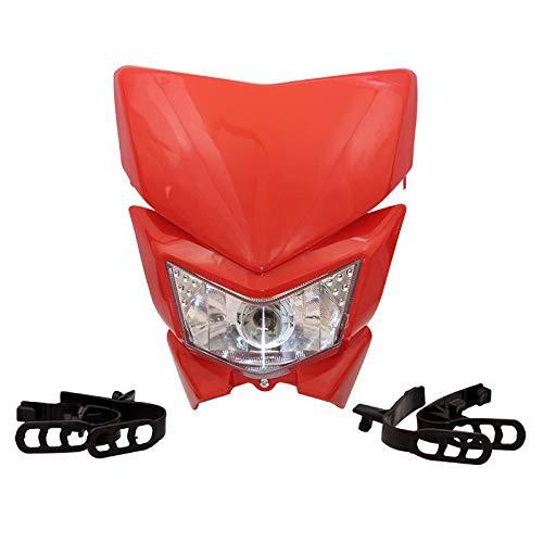 KLX450 250 Faro de Faro de la Motocicleta para la Motocicleta HL105 Faro de la Motocicleta 35W 12V 4WD (Color : Red)