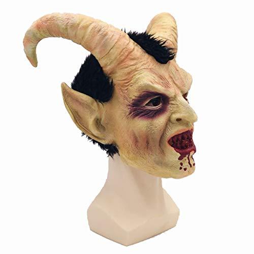 No logo GXDJQMJ Halloween-Maske, Luzifer Maske Halloween Horror Maske Latex Kopfbedeckung