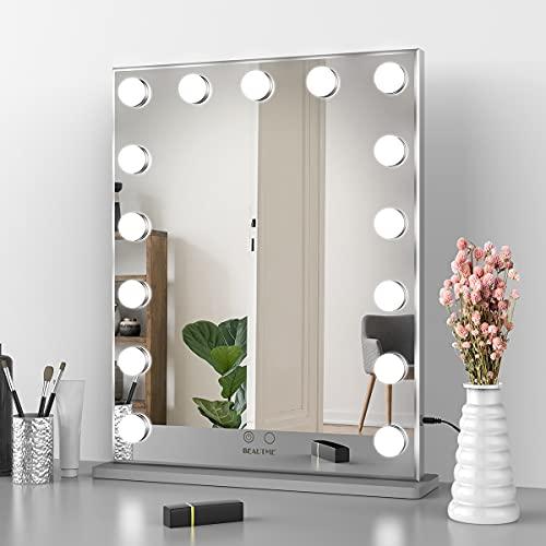 Nitin Hollywood - Espejo de tocador con luces, regulable, para mesa/pared