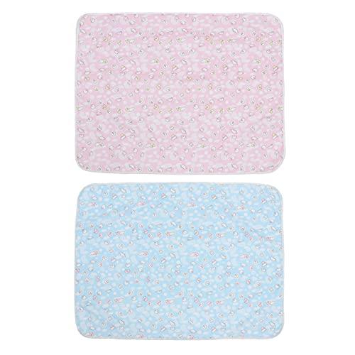 Tomaibaby 2 Piezas de Almohadilla de Cambio de Pañales para Bebé Impermeable Almohadilla de Cambio Portátil Reutilizable para Bebé Recién Nacido (Rosa Azul 70 * 90Cm)