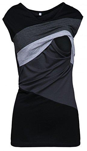 HAPPY MAMA. Damen Still Umstands-Top Lagendesign Farbblock-Design Ärmellos. 369p (Graphit Melange & Grau Melange, 40, L)