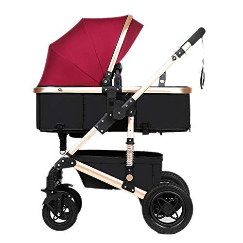 Yhz@ Cochecito de bebé, Plegable Ligero del Amortiguador de los niños Empuje los carros del bebé Infantil Carro de aleación de Aluminio Marco Sillas de Paseo (Color : Fuchsia)