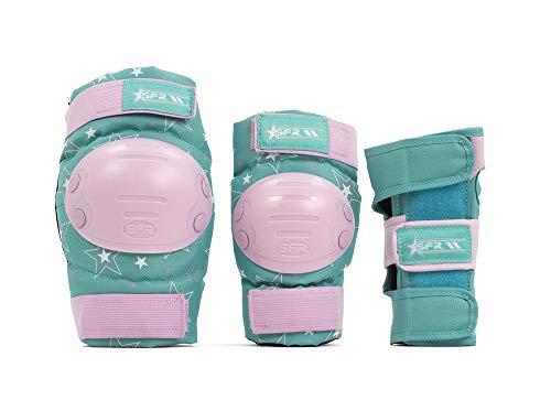SFR Skates SFR Star Triple Pad Set Kit de protección Skateboard Unisex Adulto, Pink/Green, M