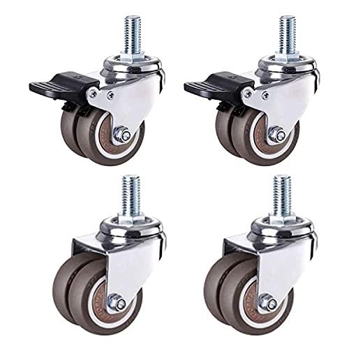 Rollen 4 Räder mit Bremsen, 1,5 / 2-Zoll-Hochleistungs-Schwenk mit L-Typ-Halterung 400kg Lastkapazität Doppellager für Couchtisch Workbench Trolley ( Color : 1.5in/40mm , Size : 2 Swivel 2 Brakes )