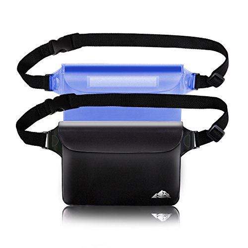 HEETA 2-Pack Waterproof Pouch, Screen Touch Sensitive Waterproof Bag with Adjustable Waist Strap - Keep Your Phone and Valuables Dry - Perfect for Swimming Diving Boating Fishing Beach, Black & Blue