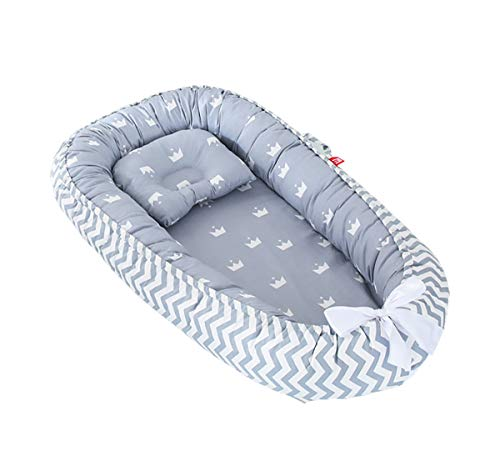 TEALP Baby Nest Riduttore Per Letto Culla Paracolpi Multifunzionale Nido lettino da viaggio, corona grigia