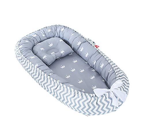 Imagen para TEALP Tumbona para bebé, Nido de bebé, Nido Transpirable para recién Nacido, Funda extraíble con algodón orgánico Supersuave, corona gris