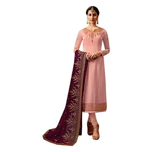 ETHNIC EMPORIUM Dames Bollywood feestelijke bruid recht Salwar Kameez pak zware Dupatta Churidar mulimische Inder 7217 43485 zoals getoond