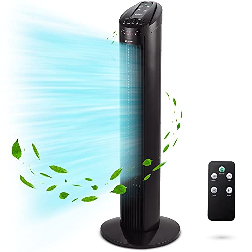 Grunkel - TF-RC SILENCE - Torre de ventilación con ángulo de oscilación automática 90º, temporizador hasta 7,5 horas, 3 velocidades, 3 modos y mando a distancia - 45W