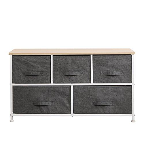 DlandHome Armario de almacenaje Cómoda Organizador con 5 cajones/Cajas de Almacenamiento de Tela para el Dormitorio, la habitación o el lavadero, Gris