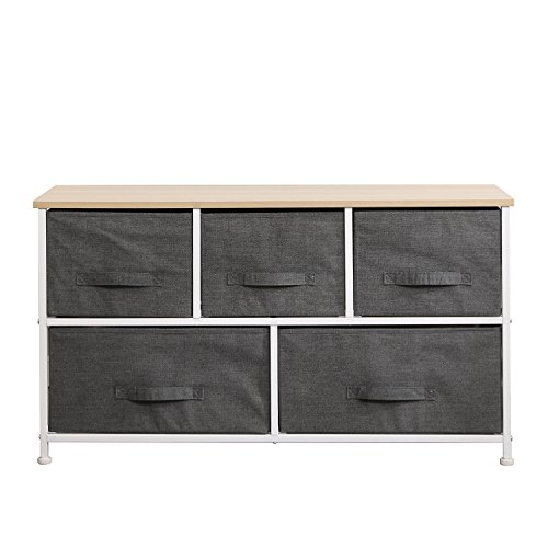 soges Fabric 5-Drawer Storage Organizer Unit for Bedroom, or Play Room with Fabric Bin Storage Unit Grey, 106-GY-N