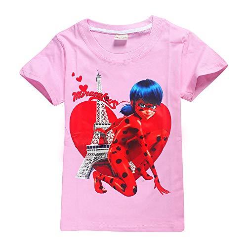 Miraculous Ladybug Camiseta Transpirable Ropa de Vestir for niños Camisas de Manga Corta Elásticos de Fibra de bambú Camisetas elásticas Unisex (Color : A02, Size : 110)