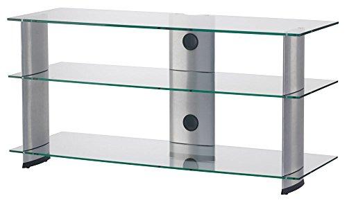 RO&CO TV-meubels breedte 120 cm, 3 legplanken. Helder glas/grijze behuizing Ref. M-1203 breedte 120 cm.