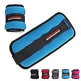 TrainHard 0.5 kg - 2 kg Gewichtsmanschetten für Hand - und Fußgelenke 2er Set - in 4 Varianten Gewichts and 5 Farben Laufgewichte (1 KG - Blau)
