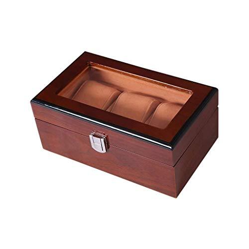 Pine - Caja de reloj para hombre y mujer con tapa, almohadillas extraíbles con compartimentos transparente para ventana organizador de madera