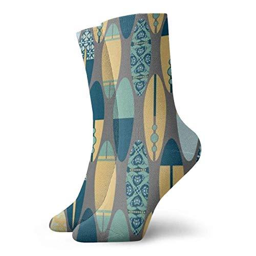 U Shape Tablas de surf unisex en gris, transpirable, fantasía, tobillo, correr, senderismo, calcetines, fin de semana, deporte, calcetines deportivos, calcetines cortos, 30 cm