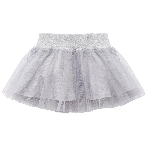 Pinokio Happy Day Jupe bébé fille 100% coton, gris ou noir – Jupette pour fille, équipement d'origine, jupe en tulle - Gris - 18 mois