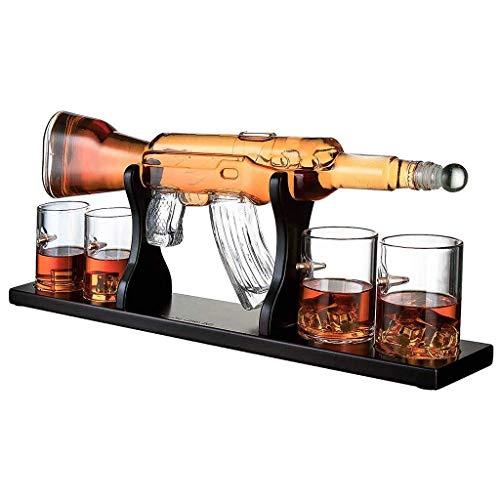800Ml Gun Große Decanter Set Kugelgläser, Elegante Gewehr Whiskey Decanter 1000Ml Mit 4 Kugel Whiskygläser Und Mohogany Holzsockel