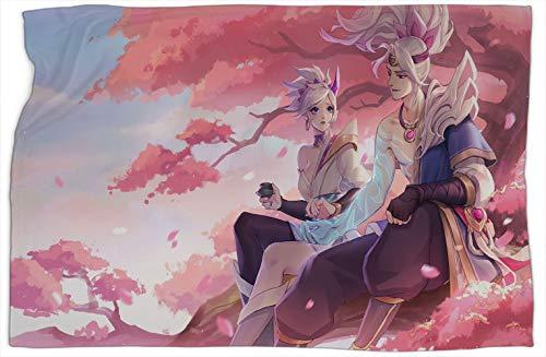 Yasuo Riven Spirit Blossom League Legends - Manta doble con diseño de leyendas de aire acondicionado, súper suave, cálida y cómoda, mantas y mantas de 50 x 60 pulgadas