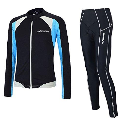 airtracks funktions Maillot de vélo/Pantalon de cyclisme Pro + Set de maillot de cyclisme à manches longues Pro T/respirant/réflecteurs, Adulte (unisexe), Noir/bleu