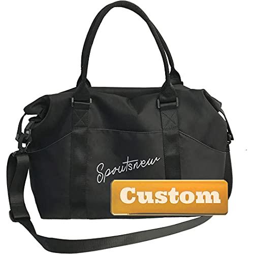 Nombre Personalizado Hombres Ropa de Cama para Viajes Nylon Duffel Bag Mujer Duffel para Hombres Viajando (Color : Black, Size : One Size)