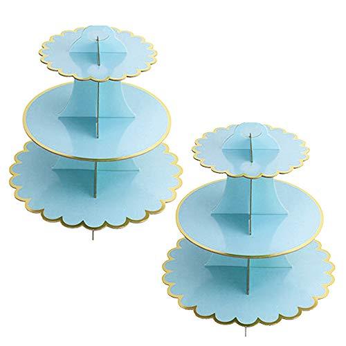 2 Unidades Soporte para Cupcakes 3-Tier Postre Soporte de Magdalenas Cartón Cupcake Stand Redondo para Cumpleaños, Fiesta, Baby Showers (Blue)