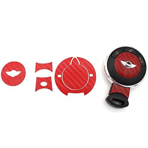 Schlüssel Folie MIA für 3 Tasten Auto Schlüssel Cover Folien Dekor Aufkleber (Carbon Rot)