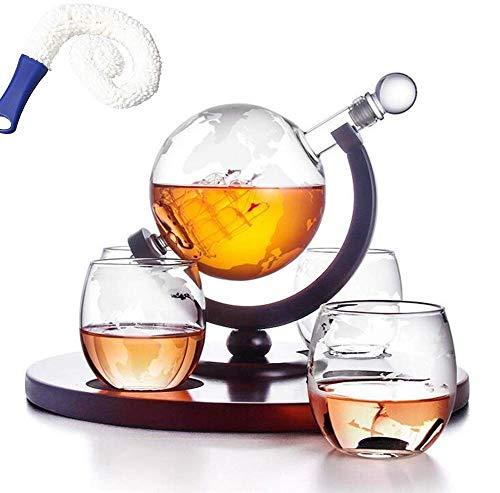 ZXL Whisky Globe Set World Globe Soporte de Fibra de Vidrio Hecho a Mano con velero de Vidrio Artesanal Jarra de Whisky, Regalos Relacionados con el Alcohol para papá (Color: A)